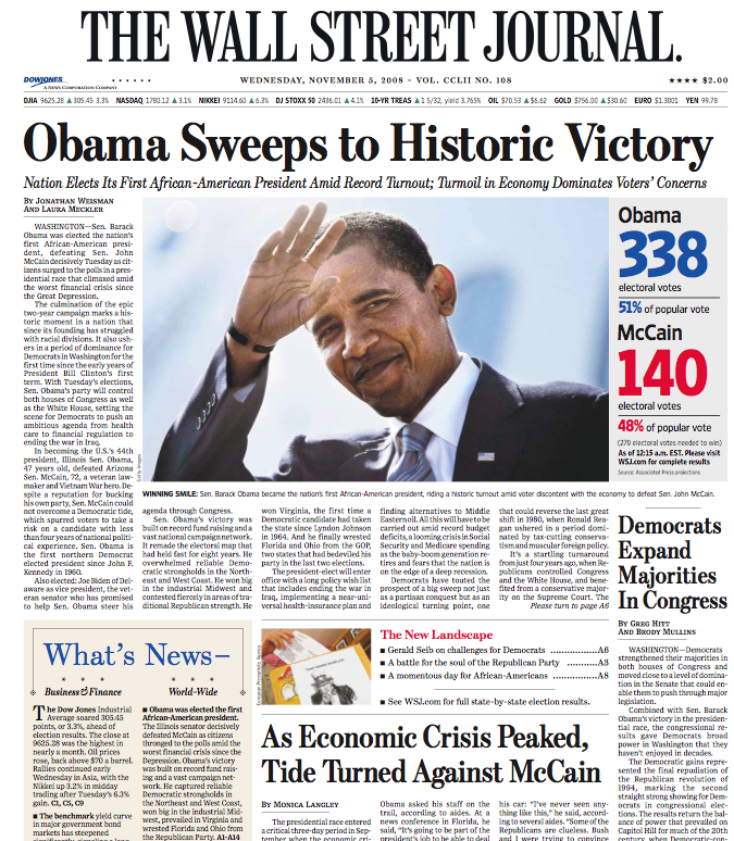 Some Of The Front Pages Of Major Newspapers Wsj Nyt