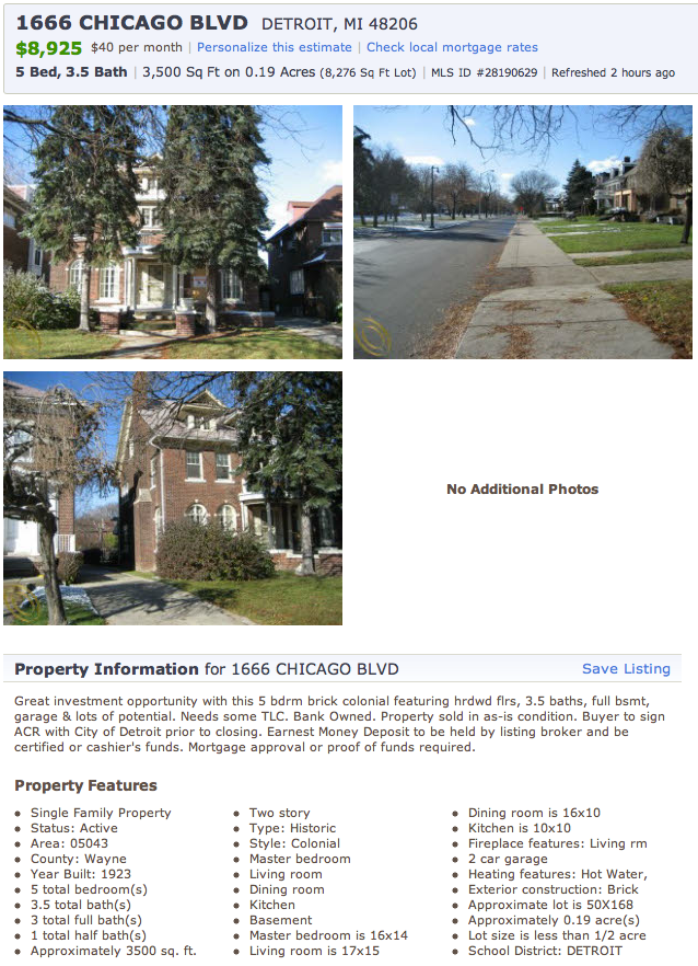 For Sale 5 BR Detroit Manse 8995 The Big Picture