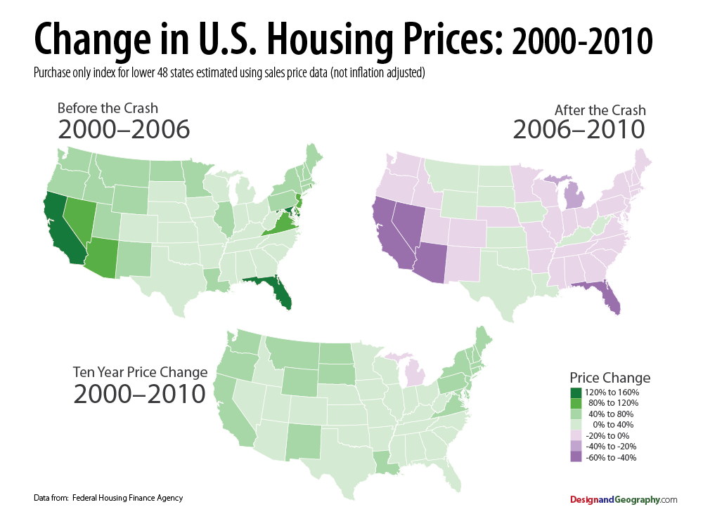 Charlottesville Bubble Blog: Map of the U S  Housing Bubble