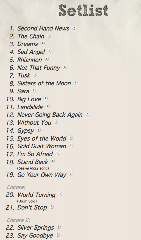 fleetwood mac setlist april 4 2013