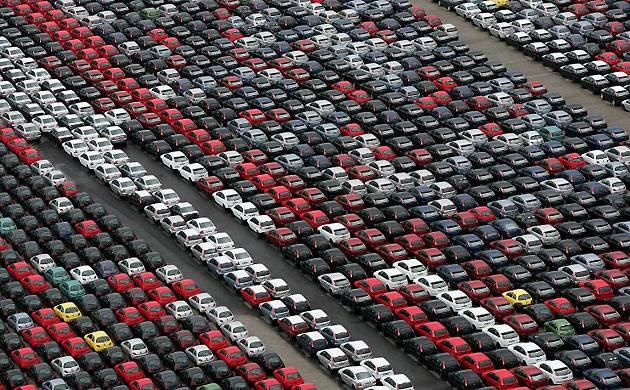 cars await shipment to italian dealers at the port of civitavecchia