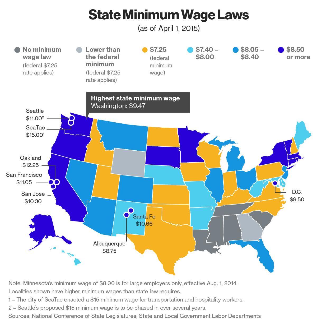 State Minimum Wage Map | Tamma Capital | Personalized Investing