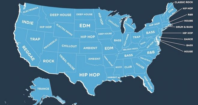 Most Popular Music Genre in Each State - The Big Picture