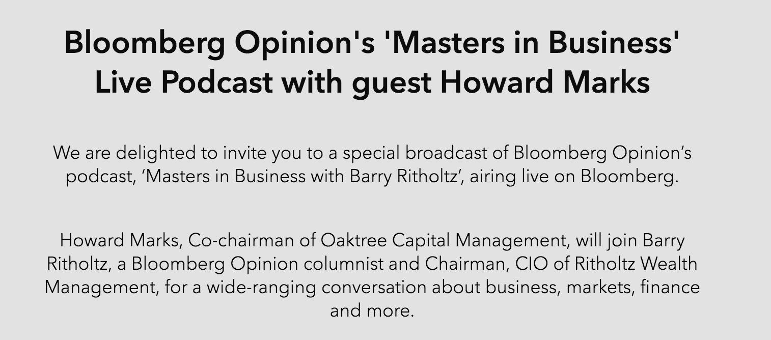 Coming Soon: Masters in Business Live with Howard Marks - The Big Picture