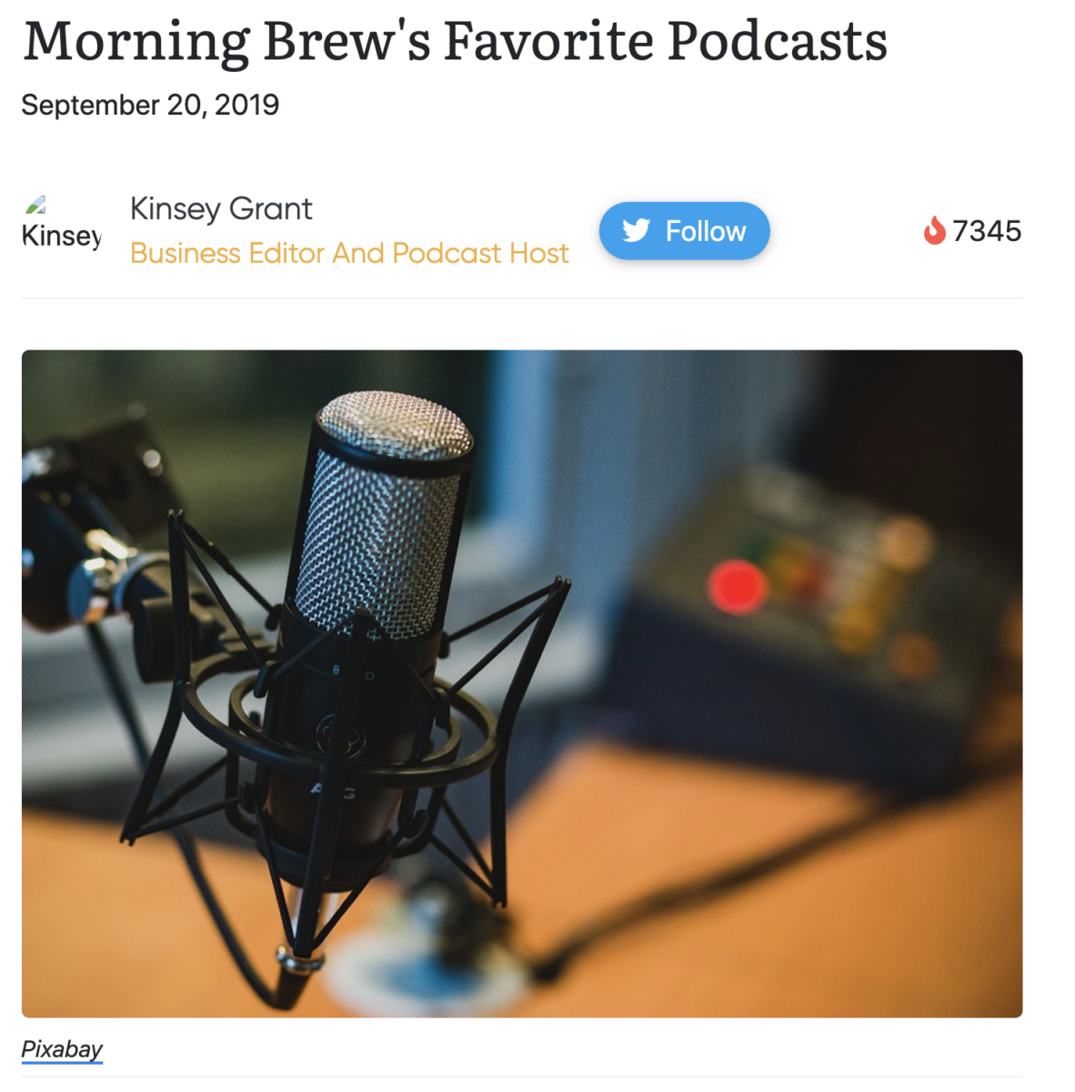 Favorite Podcasts via Morning Brew