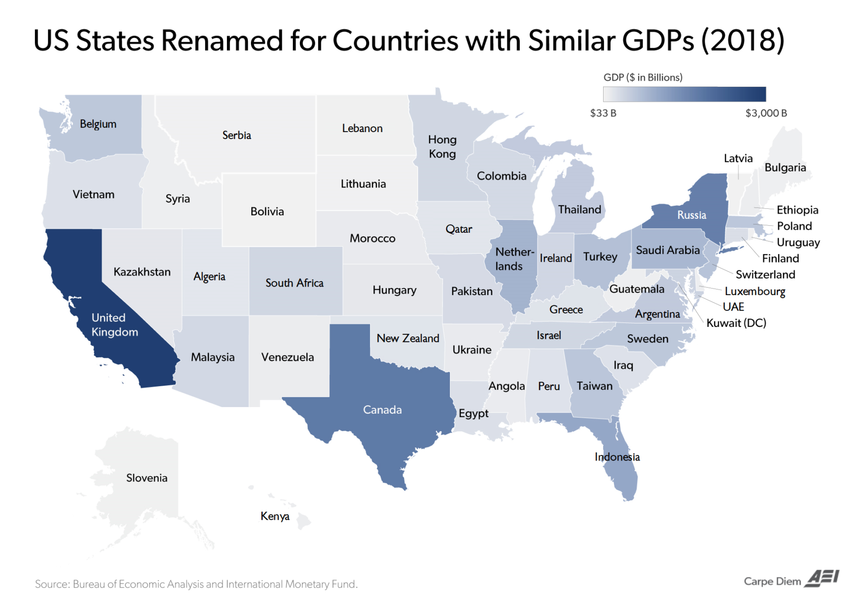 Comparing US States' GDP to Countries 2